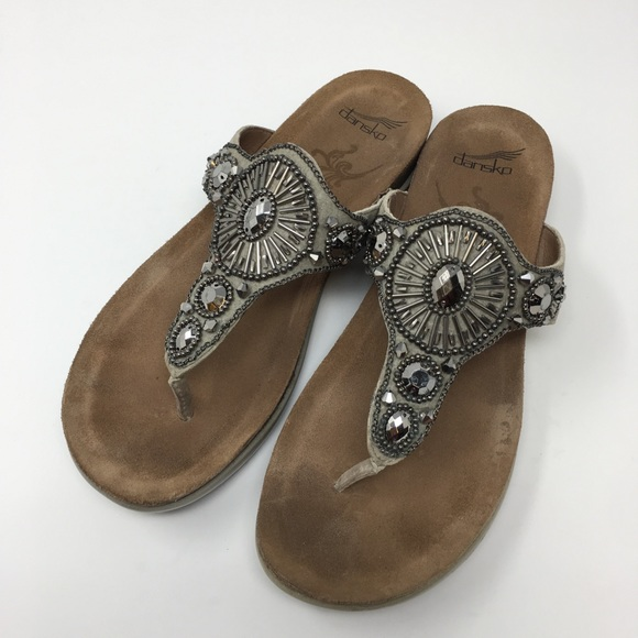 f0702d741644 Dansko Shoes - Dansko Thong Sandals Sz 39 Pamela Taupe Jewelled